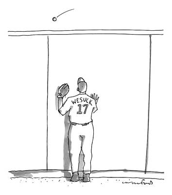 Baseball Drawing - A Baseball Player Watches A Ball Fly Over A Wall by Michael Crawford