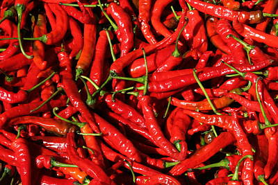 Chillie Photograph - A Basket Full Of Spicy Chilli Peppers In China. by Luigi Camassa