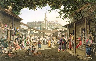 Cosmopolitan Drawing - A Bazaar In Athens, Plate 1 From Part 1 by Edward Dodwell