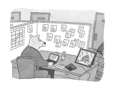 Cubicle Drawing - A Bear Dressed As An Office Worker Sits by Peter C. Vey