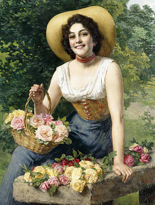 Pruning Painting - A Beauty Holding A Basket Of Roses by Gaetano Bellei