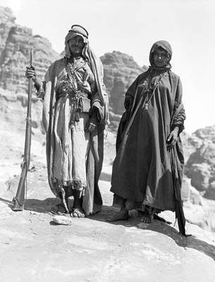Indigenous Culture Photograph - A Bedouin And His Wife by Underwood Archives