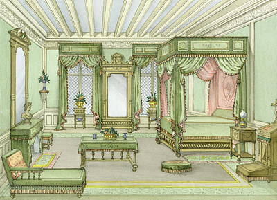 A Bedroom Interior In Henri II Style Print by French School