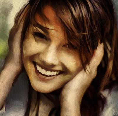 Girl Digital Art - A Big Happy Smile by Gun Legler