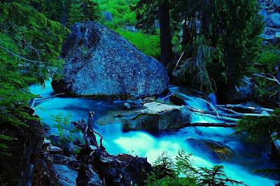A Big Rock On The Way To Carter Falls Print by Jeff Swan
