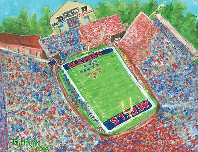 Oxford Painting - A Big Win In Oxford Ole Miss Alabama Game by Tay Morgan