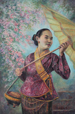 Laos Painting - A Blissful Day by Sompaseuth Chounlamany