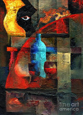 Red Cube Painting - A Blue Blur by Val Byrne