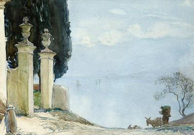 Italian Landscapes Painting - A Blue Day On Como by Joseph Walter West