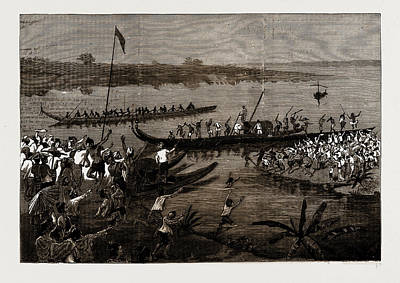 Burmese Python Drawing - A Boat Race For A Wife, A Burmese Story by Litz Collection