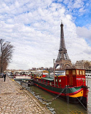 Paris Photograph - A Boat's View Of The Eiffel Tower by Mark E Tisdale