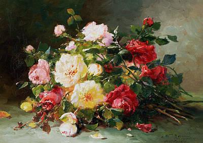 A Bouquet Of Roses Print by Eugene Henri Cauchois