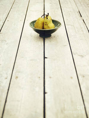 Stoneware Photograph - A Bowl Filled With Pears by Priska Wettstein