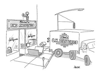 O Drawing - A Box From A Truck Labeled Stan's O.k. Deliveries by Jack Ziegler