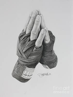 Punching Drawing - A Boxer's Prayer by Joshua Navarra