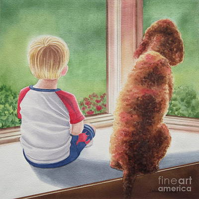 A Boy And His Dog Print by Deborah Ronglien