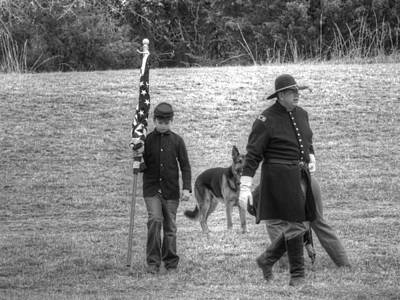 Civil Photograph - A Boy His Dog And The Flag Civil War by John Straton