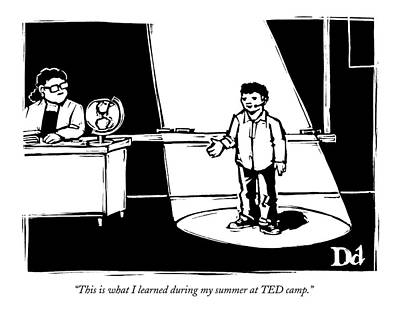 Tell Drawing - A Boy Stands In Front Of His Class Speaking by Drew Dernavich