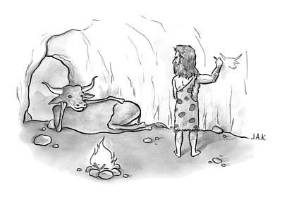Buffalo Drawing - A Buffalo Poses Seductively For A Cave Man by Jason Adam Katzenstein