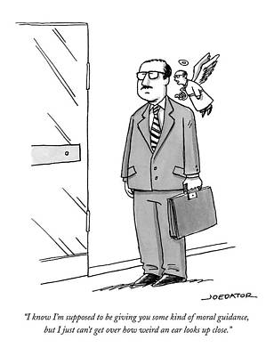 Angels Drawing - A Businessman Stands By A Door by Joe Dator
