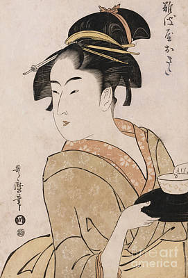 A Bust Portrait Of The Waitress Okita Of The Naniwaya Teahouse Print by Kitagawa Utamaro