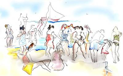 Seagull Mixed Media - A Busy Day At The Beach by Carolyn Weltman