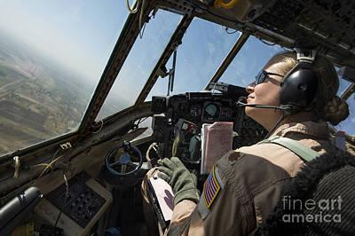 A C-130h Hercules Pilot Looks Print by Stocktrek Images