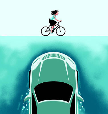 Reef Shark Drawing - A Car Emerges From The Deep Toward A Bicyclist by Christoph Niemann