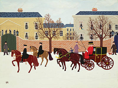 Police Christmas Card Painting - A Carriage Escorted By Police by Vincent Haddelsey