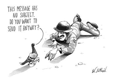 Pigeon Drawing - A Carrier Pigeon Holds A Rolled Up Message by Will McPhail