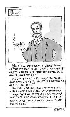 Cartoon Drawing - A Cartoon Panel Called Siggy Where Sigmund Freud by Jack Ziegler