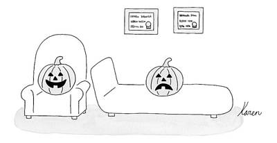 Pumpkin Drawing - A Carved Pumpkin With A Frowning Face by Karen Sneider