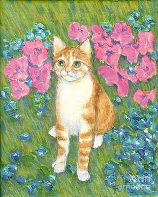 Cat Painting - A Cat And Meadow Flowers by Jingfen Hwu