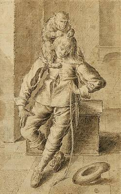 Monkeys Drawing - A Cavalier With A Monkey by Gottfried Libalt