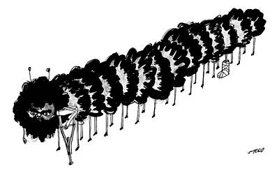 Crutch Drawing - A Centipede With A Crutch And A Cast On Its 8th by Edward Steed