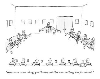 Company Drawing - A Ceo Stands And Talks To Employees In A Business by Jack Ziegler