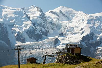 Serrated Photograph - A Chair Lift In Front Of Mont Blanc by Ashley Cooper
