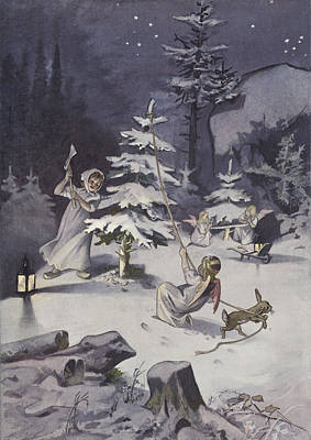 Snowy Night Painting - A Cherub Wields An Axe As They Chop Down A Christmas Tree by French School