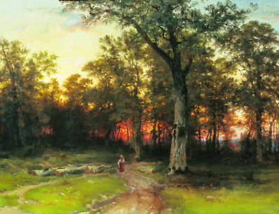 Forestry Painting - A Child Walks In A Forest by Georgiana Romanovna