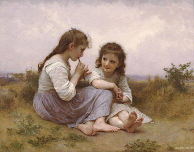 William-adolphe Bouguereau Painting - A Childhood Idyll by William-Adolphe Bouguereau