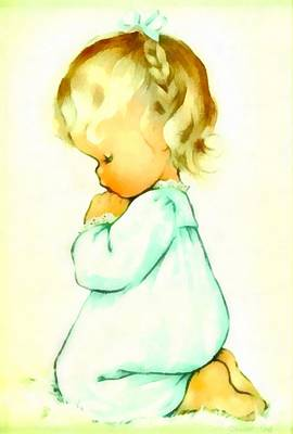 Youngster Digital Art - A Childs Prayer by Charlotte Byj