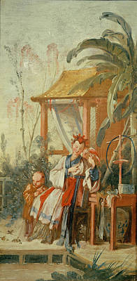A Chinese Garden, Study For A Tapestry Cartoon, C.1742 Oil On Canvas Print by Francois Boucher