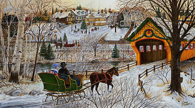 Winter Memories Painting - A Christmas Sleigh Ride by Doug Kreuger