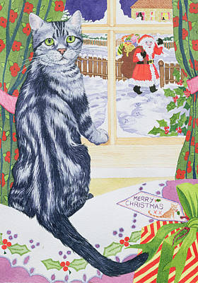 Winter Fun Painting - A Christmas Visitor For Toby by Suzanne Bailey