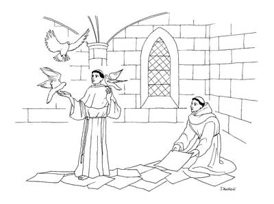Dove Drawing - A Clergyman Handles Three Doves/pigeons by Dan Roe