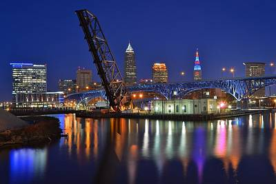 A Cleveland Ohio Evening On The River Print by Frozen in Time Fine Art Photography