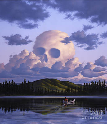 Cloudscape Digital Art - A Cloud Formation Depicting A Skull by Jerry LoFaro