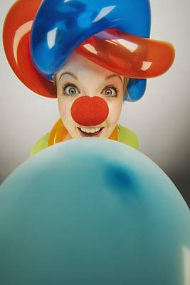 A Clown Smiling With Balloons Print by Darren Greenwood
