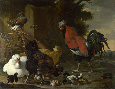 Hens And Chicks Painting - A Cock Hens And Chicks by Melchior d'Hondecoeter
