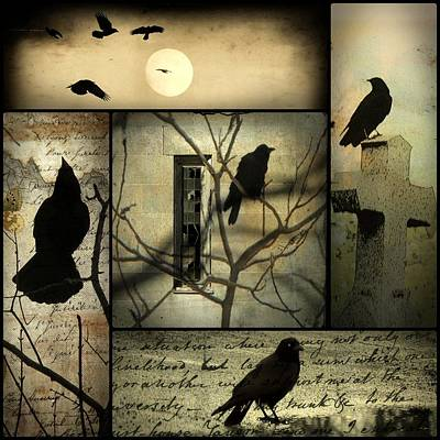 A Collage Of Crows Print by Gothicolors Donna Snyder